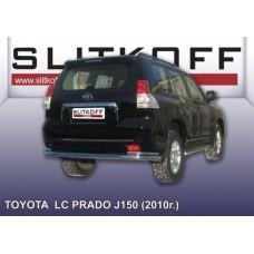 Защита заднего бампера d76+d42 двойная Toyota Land Cruiser Prado (2010)