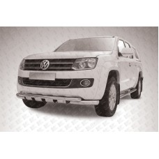 Защита переднего бампера d76+d57 двойная с профильной защитой картера Volkswagen Amarok (2013)