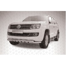 Защита переднего бампера d57+d57 двойная с профильной защитой картера Volkswagen Amarok (2013)