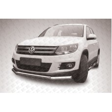 Защита переднего бампера d76+d42 двойная Volkswagen Tiguan (2011)