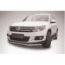 Защита переднего бампера d57+d42 двойная Volkswagen Tiguan (2011)