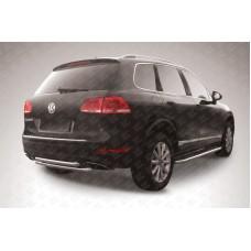 Защита заднего бампера d57+d57 двойная Volkswagen Touareg (2010)