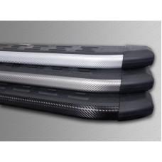 Пороги алюминиевые с пластиковой накладкой (карбон черные) 1720 мм код CHERTIG514-17BL
