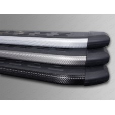 Пороги алюминиевые с пластиковой накладкой (карбон серебро) 1720 мм код HYUNIX35-10SL