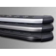 Пороги алюминиевые с пластиковой накладкой (карбон серые)    1720 мм код HYUNIX35-10GR