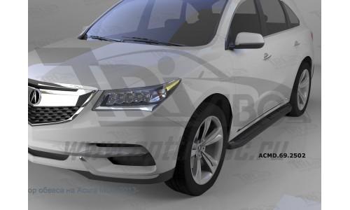 Пороги алюминиевые (Corund Black) Honda Pilot (2016-)/Acura MDX (2014-) на Honda Pilot  III (2016-)