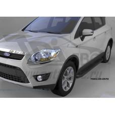 Пороги алюминиевые (Corund Black) Ford Kuga (2008-2013)