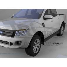 Пороги алюминиевые (Corund Black) Ford Ranger (2012-) 4 дв.