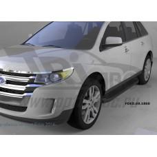 Пороги алюминиевые (Corund Black) Ford Edge (2014-)
