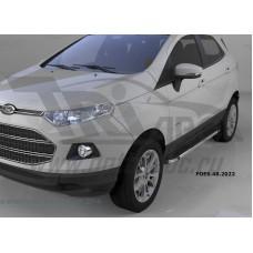 Пороги алюминиевые (Brillant) Ford EcoSport (2014-)(черн./нерж.)