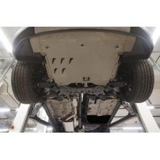 Защита днища Hyundai Santa Fe (Хёндай Санта Фе) V-все (2012-2015-) 3 части (Алюминий 4 мм)
