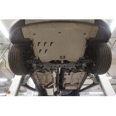 Защита днища Hyundai Santa Fe (Хёндай Санта Фе) V-все (2012-2015-) 4 части, на а/м без бок. Подножек
