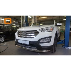 Защита переднего бампера Hyundai SantaFe (2012-/2015-) (двойная) d60/60  (несовместима с защитой кар