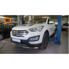 Защита переднего бампера Hyundai SantaFe (2012-/2015-) (одинарная) d60 (несовместима с защитой карте