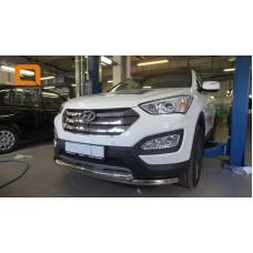 Защита переднего бампера Hyundai Grand SantaFe (2013-) (двойная) d60/60 (несовместима с защитой карт
