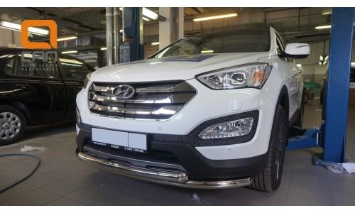 Защита переднего бампера Hyundai Grand SantaFe (2013-) (двойная) d60/60 (несовместима с защитой карт на Hyundai Santa Fe Grand (2013-2016)