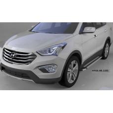 Пороги алюминиевые (Brillant) Hyundai Grand Santa Fe (2013-) (серебр)