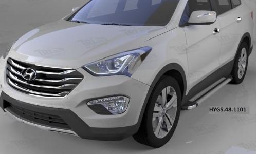 Пороги алюминиевые (Brillant) Hyundai Grand Santa Fe (2013-) (серебр) на Hyundai Santa Fe Grand (2016-)