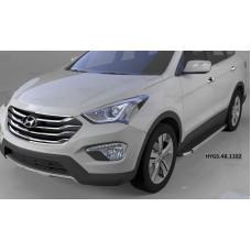 Пороги алюминиевые (Brillant) Hyundai Grand Santa Fe (2013-) (черн/нерж)