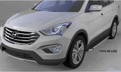 Пороги алюминиевые (Brillant) Hyundai Grand Santa Fe (2013-) (черн/нерж) на Hyundai Santa Fe Grand (2016-)
