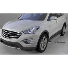 Пороги алюминиевые (Opal) Hyundai Grand Santa Fe (2013-)
