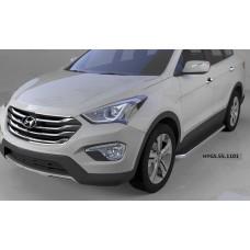 Пороги алюминиевые (Ring) Hyundai Grand Santa Fe (2013-)