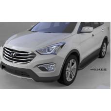Пороги алюминиевые (Sapphire Black) Hyundai Grand Santa Fe (2013-)