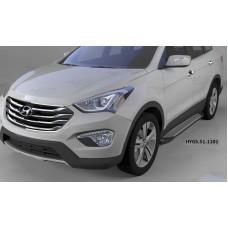 Пороги алюминиевые (Sapphire Silver) Hyundai Grand Santa Fe (2013-)