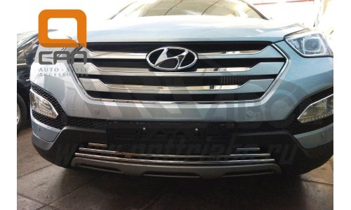 Решетка переднего бампера Hyundai Santa Fe (2012-2015) на Hyundai Santa Fe (2013-2018)