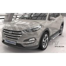 Пороги алюминиевые (Brillant) Hyundai Tucson (2015-) / Kia Sportage (2016-) (серебр)