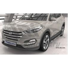 Пороги алюминиевые (Brillant) Hyundai Tucson (2015-) / Kia Sportage (2016-) (черн/нерж)