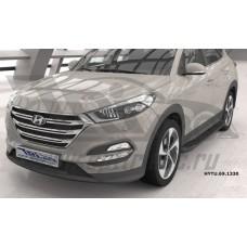 Пороги алюминиевые (Corund Black) Hyundai Tucson (2015-) / Kia Sportage (2016-)