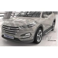 Пороги алюминиевые (Corund Silver) Hyundai Tucson (2015-) / Kia Sportage (2016-)
