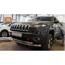 Защита переднего бампера JEEP Cherokee Тrailhawk (2014-) (двойная) d76/60