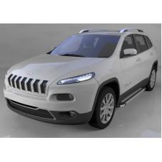 Пороги алюминиевые (Brillant) Jeep Cherokee Trailhawk (2014-) (серебр)