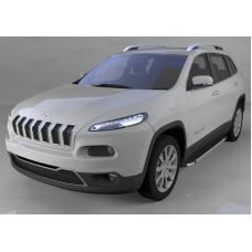 Пороги алюминиевые (Brillant) Jeep Cherokee Trailhawk (2014-) (черн/нерж)