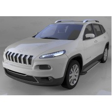 Пороги алюминиевые (Topaz) Jeep Cherokee Trailhawk (2014-)