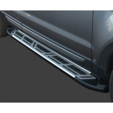Пороги алюминиевые (Corund Silver) Kia Sportage (Киа Спортаж) (2005-2010)