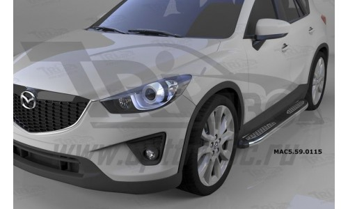 Пороги алюминиевые (Zirkon) Mazda (Мазда) CX5 (2012-2015 /2015-) на Mazda CX-5 (2011-2015)