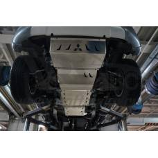 Защита днища Mitsubishi L-200, V-все; КПП-все (2015-) из 4х частей (радиатор,картер, КПП, РК) (Алюми
