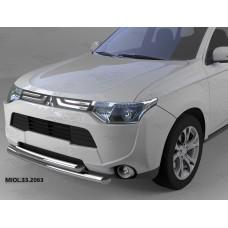 Защита переднего бампера Mitsubishi Outlander (-2014/2014-04.2015) (двойная) d 60/60
