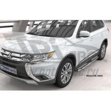 Пороги алюминиевые (Zirkon) Mitsubishi Outlander (Митсубиши Аутлендер) (06-12;12-;15-)/ASX (2010-)/P
