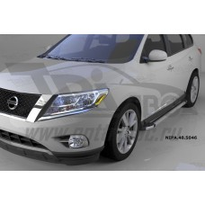 Пороги алюминиевые (Brillant) Nissan Pathfinder (2014-) (серебр)