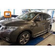 Пороги алюминиевые (Brillant) Nissan Pathfinder (2014-) (черн/нерж)