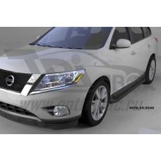 Пороги алюминиевые (Corund Black) Nissan Pathfinder (2014-)