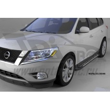 Пороги алюминиевые (Corund Silver) Nissan Pathfinder (2014-)