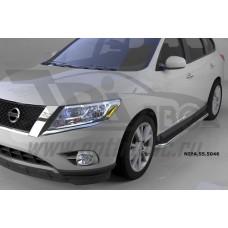 Пороги алюминиевые (Ring) Nissan Pathfinder (2014-)
