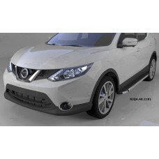 Пороги алюминиевые (Brillant) Nissan Qashqai (Ниссан Кашкай) (2014-) (черн/нерж)