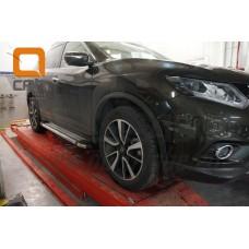 Пороги алюминиевые (Brillant) Nissan X-Trail (2014-) (серебр)
