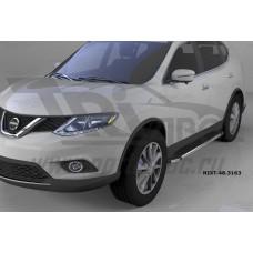 Пороги алюминиевые (Brillant) Nissan X-Trail (2014-) (черн/нерж)
